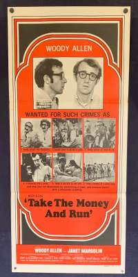 Take The Money And Run 1969 Rare Daybill movie poster Woody Allen