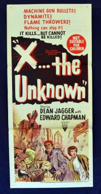 X The Unknown 1956 Daybill movie poster Hammer Horror Dean Jagger RKO