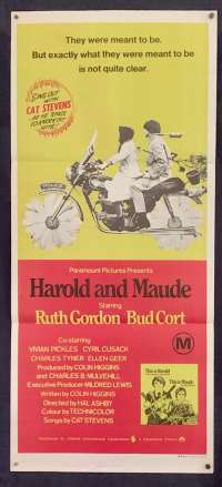 Harold And Maude 1971 Bud Cort Ruth Gordon Vintage Daybill movie poster
