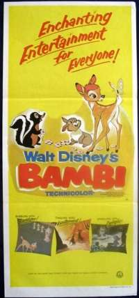 Bambi 1942 Disney Daybill movie poster Rare 1979 Re-Issue