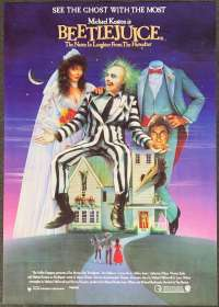 Beetlejuice 1988 One Sheet movie poster Tim Burton Michael Keaton Alec Baldwin Ghosts