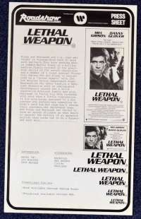 Lethal Weapon 1987 Movie Press Sheet Mel Gibson Danny Glover