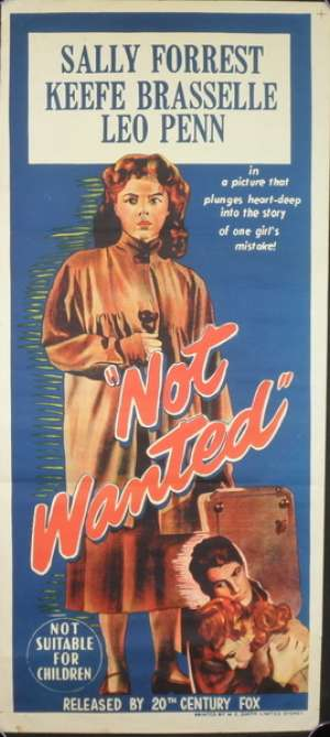 Not Wanted Movie Poster Original Daybill 1949 Leo Penn Sally Forrest