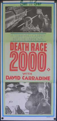 Death Race 2000 1975 Daybill movie poster different art David Carradine Sylvester Stallone.