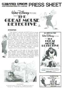 The Great Mouse Detective 1986 Movie Press Sheet Sherlock Holmes Disney