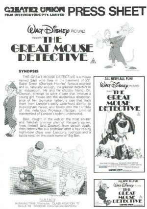 The Great Mouse Detective Movie Press Sheet Original Disney