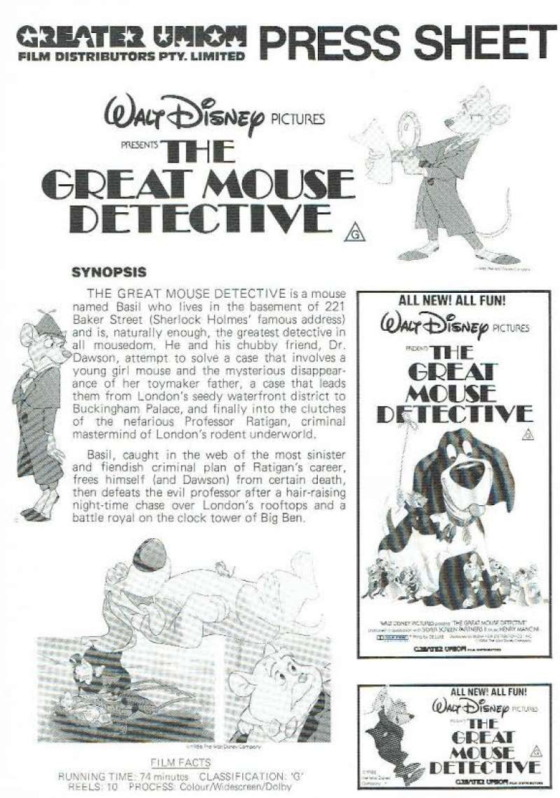 all about movies the great mouse detective movie press sheet original disney. Black Bedroom Furniture Sets. Home Design Ideas