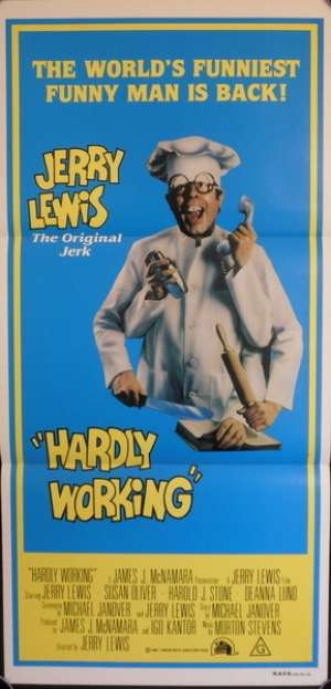 Hardly Working 1980 Daybill Movie poster Jerry Lewis