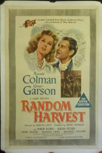 Random Harvest 1942 movie poster One Sheet Linen backed Greer Garson Ronald Colman