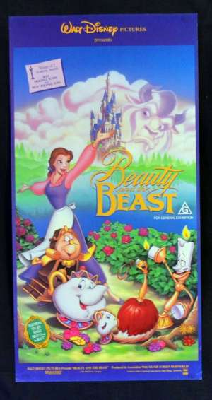 Beauty And The Beast Poster Original Daybill Rolled 1991 Cast Art Disney