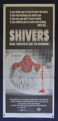 Shivers 1975 RARE Daybill movie poster aka The Parasite Murders David Cronenberg