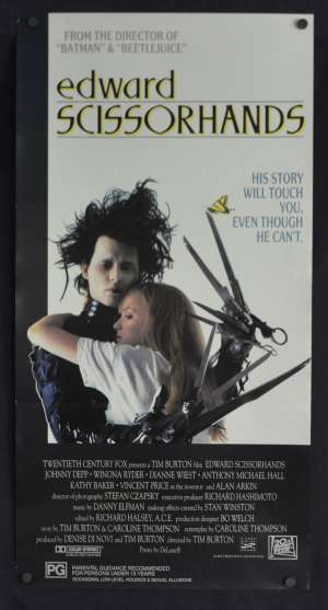 Edward Scissorhands Daybill Movie Poster 1990 Johnny Depp Winona Ryder