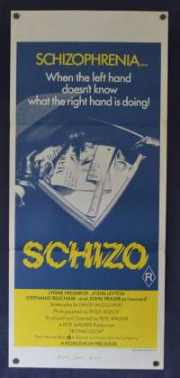 Schizo 1976 Daybill movie poster Horror Slasher Lynne Frederick