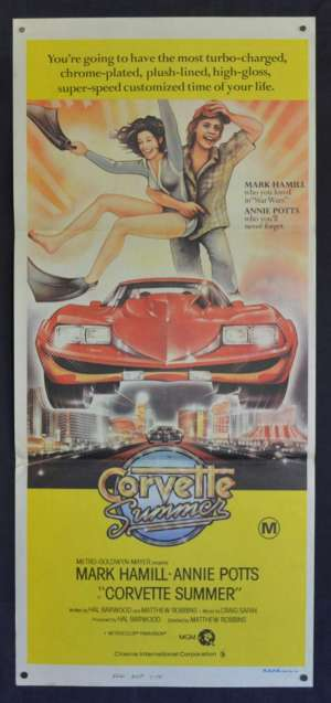 Corvette Summer Poster Original Daybill 1978 Mark Hamill Star Wars Hot Rod