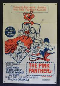 The Pink Panther Poster Original One Sheet 1960's Re-Issue Peter Sellers Comedy