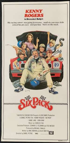 Six Pack Movie Poster Original Daybill Rolled NEVER Folded Kenny Rogers
