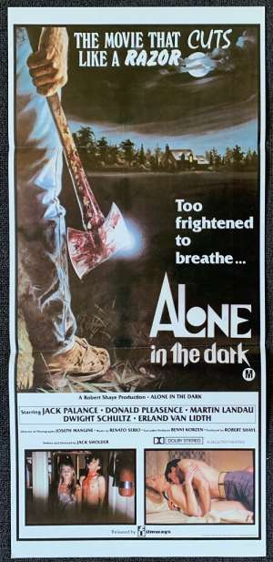 Alone In The Dark Poster Original Daybill Axe Artwork Slasher Jack Palance