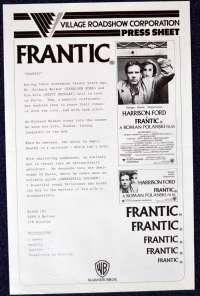 Frantic 1988 Movie Press Sheet Harrison Ford Roman Polanski