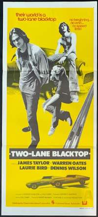 Two-Lane Blacktop Poster Original Daybill 1971 James Taylor Dennis Wilson Road Movie