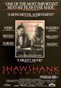 The Shawshank Redemption 1994 Rare Poster Flyer Tim Robbins Morgan Freeman Stephen King