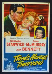There's Always Tomorrow 1956 One Sheet Movie Poster Barbara Stanwyck Fred MacMurray