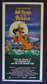 All Dogs Go To Heaven Movie Poster Original Daybill 1989 Burt Reynolds Don Bluth