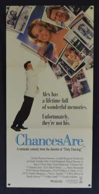 Chances Are 1989 Daybill movie poster Robert Downey Jr. Cybill Shepherd