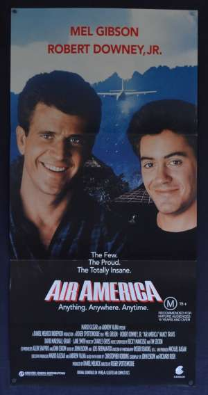 Air America Movie Poster Original Daybill 1990 Mel Gibson Robert Downey Jr. Vietnam
