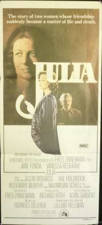 Julia 1977 Daybill Movie Poster Jane Fonda Vanessa Redgrave