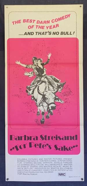 For Pete's Sake Poster Original Daybill 1974 Barbara Streisand Michael Sarrazin
