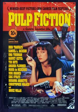 Pulp Fiction Movie Poster Original One Sheet USA Rolled Uma Thurman John Travolta