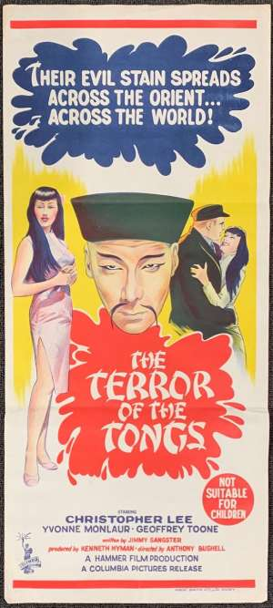 The Terror Of The Tongs Movie Poster Original Daybill 1961 Hammer Horror Christopher Lee