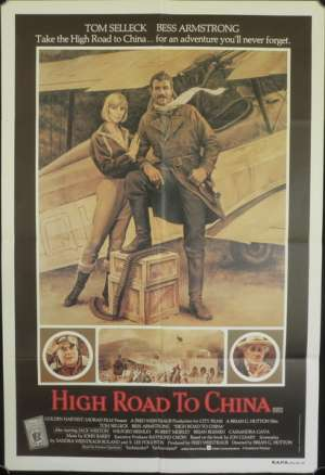 High Road To China Poster Original One Sheet 1983 Tom Selleck Bi-Planes