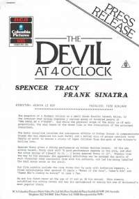 The Devil At 4 O'Clock 1961 Home Video 2 page 1986 Press Release Spencer Tracy