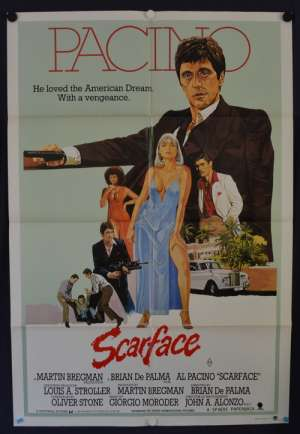 Scarface 1983 movie poster Al Pacino Michelle Pfeiffer Australian One Sheet