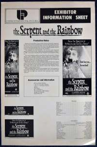 The Serpent And The Rainbow 1987 Movie Exhibitor Information Sheet Wes Craven
