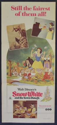 Snow White And The Seven Dwarfs Movie Poster Original Daybill 1970's RI Disney