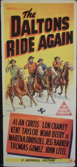 The Daltons Ride Again 1945 Alan Curtis Lon Chaney Jr. Daybill movie poster