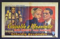 Beyond Reasonable Doubt 1956 Belgium movie poster Fritz Lang Joan Fontaine Film Noir