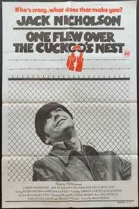 One Flew Over The Cuckoo's Nest 1975 One Sheet movie poster Jack Nicholson Milos Forman