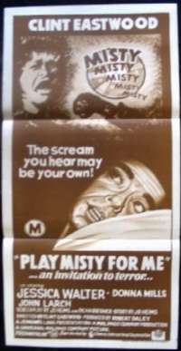 Play Misty For Me Clint Eastwood Vintage Daybill Poster