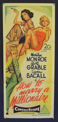 How To Marry A Millionaire movie poster Daybill Marilyn Monroe Lauren Bacall