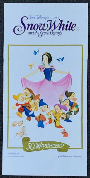 Snow White And The Seven Dwarfs movie poster Original Daybill Disney 1987 RI