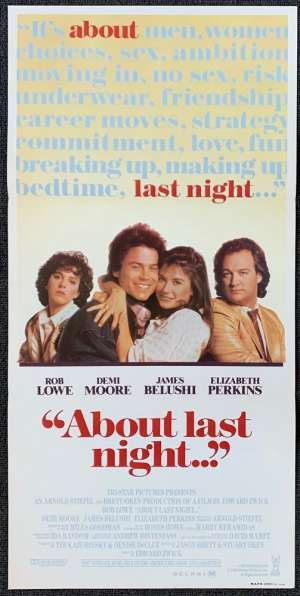 About Last Night Movie Poster Original Daybill 1986 Rob Lowe Demi Moore