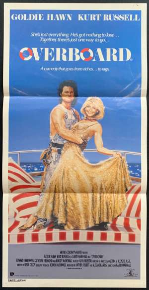 Overboard Movie Poster Original Daybill 1987 Style A Art Kurt Russell Goldie Hawn