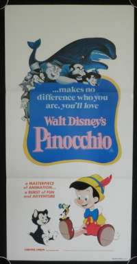 Pinocchio Movie Poster Original Daybill Disney 1982 Re-Issue