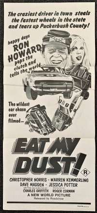 Eat My Dust 1976 Daybill Movie Poster Duo Tone Art Ron Howard Roger Corman