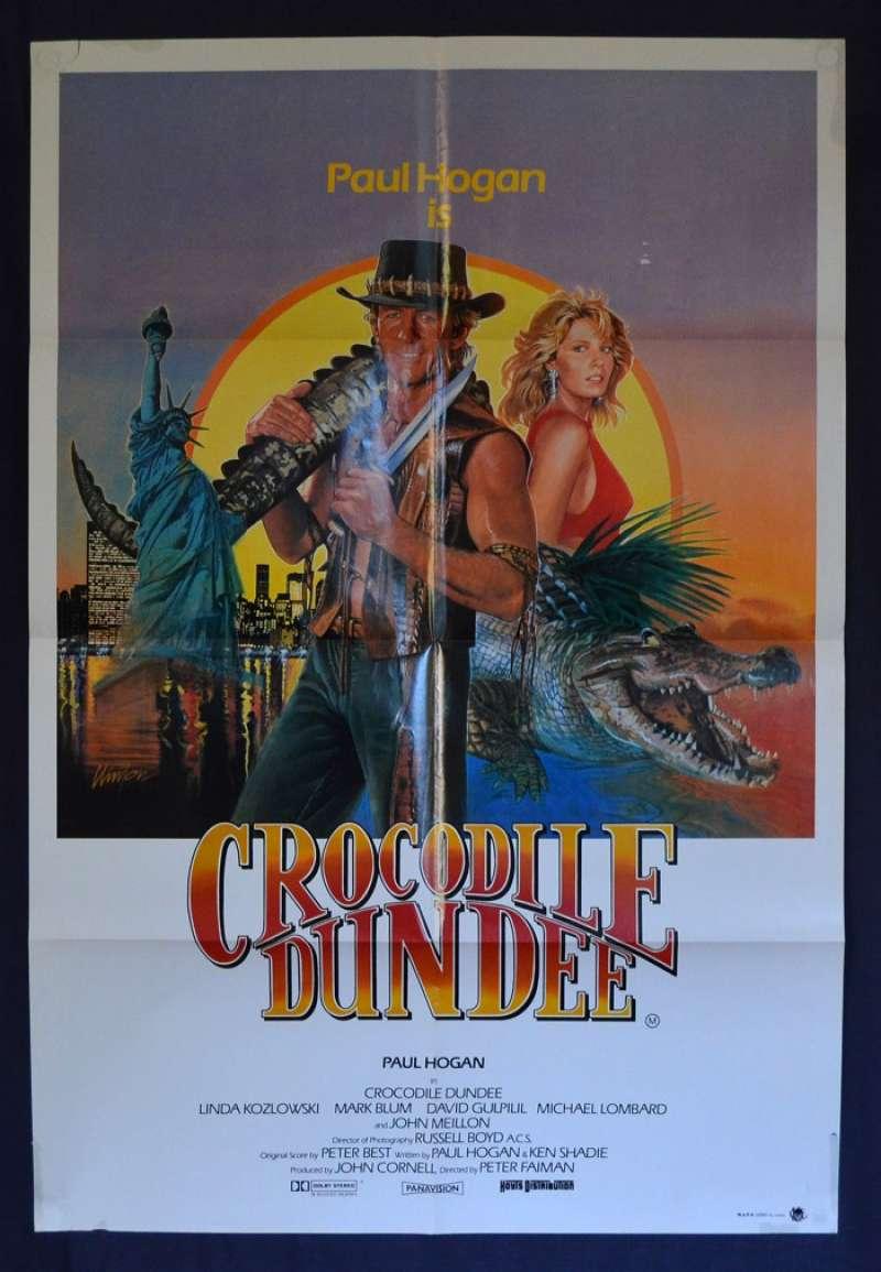CROCODILE DUNDEE 1986 80s ORIGINAL OFFICIAL MOVIE FILM PRINT PREMIUM POSTER