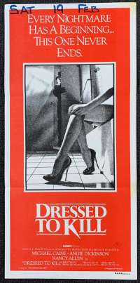 Dressed To Kill Poster Original Daybill 1980 Michael Caine Brian De Palma Nancy Allen