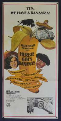 Herbie Goes Bananas Movie Poster Original Daybill Cloris Leachman Love Bug